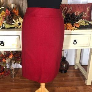 Ann taylor  women's red wool skirt